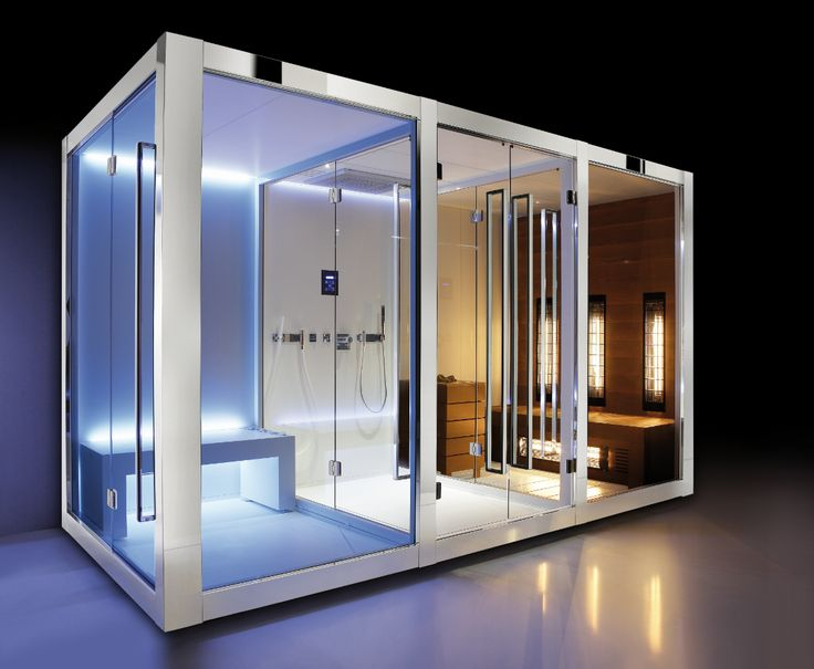 """The Steam Bath has a """"Cloud""""system for the steam integrated on the bench. The Shower has a multi-function shower head and two Kneipp hand showers. The Sauna is a combination between Finnish sauna and IR sauna."""
