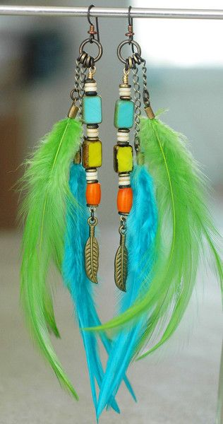 Caribbean Feather Earrings: Exotic Island Inspired Turquoise, Lime and Orange Feather Earrings $85