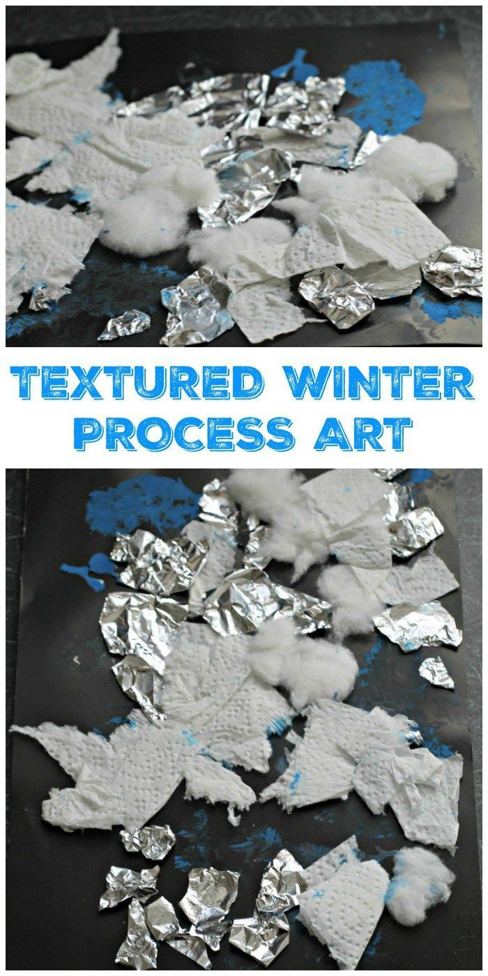 Textured Winter Collage Craft simple mixed media process art for toddlers