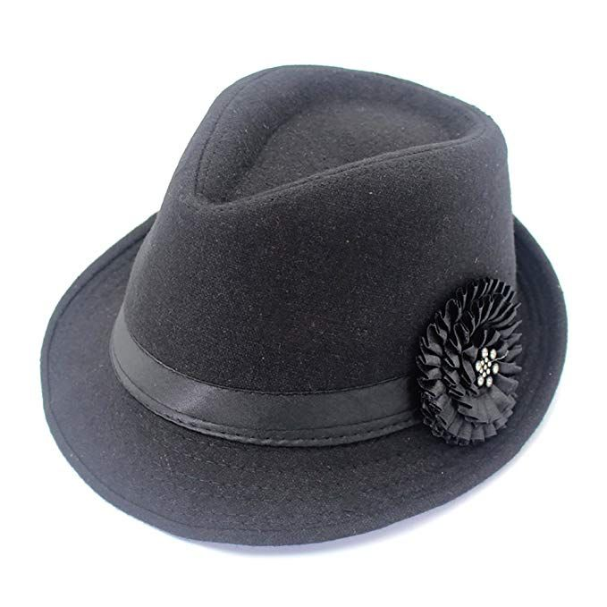 9516912f716 YOYEAH Women Vintage Top Hat Party Cap Trilby Classic Flower Elegant Panama  Hat Retro Warm Bowler Hat Black