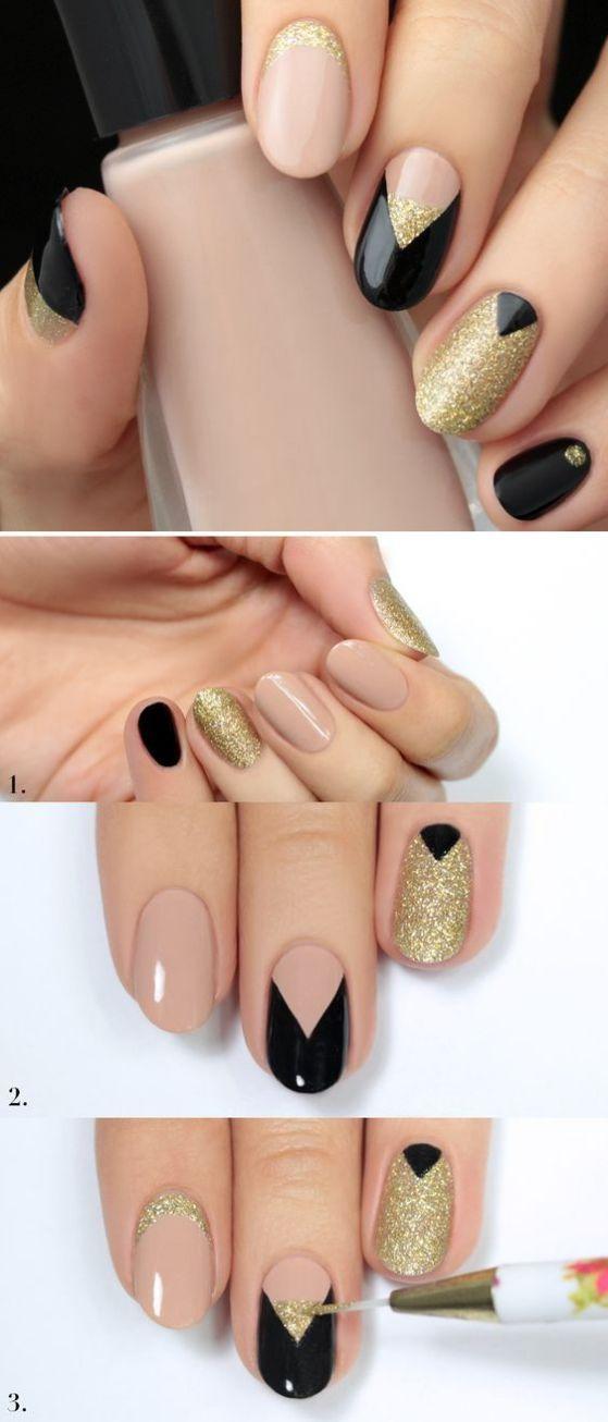 negro y dorado uñas tutorial