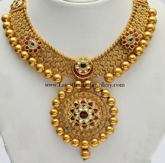 Indian Gold Jewellery Necklace Designs With Price: Elegant Kundan Bridal Gold Necklace