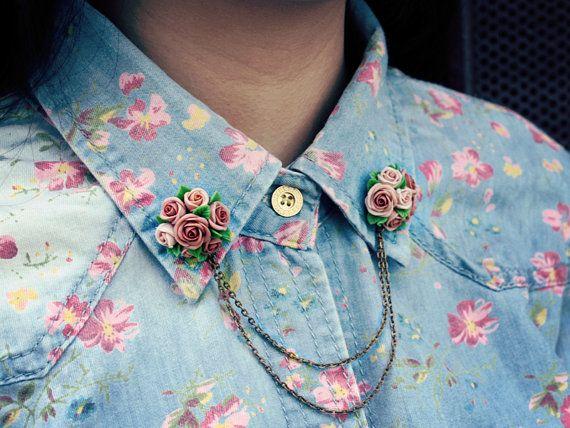 HOLIDAY SALE 20% OFF beige rose collar tips, collar brooch, handmade rose