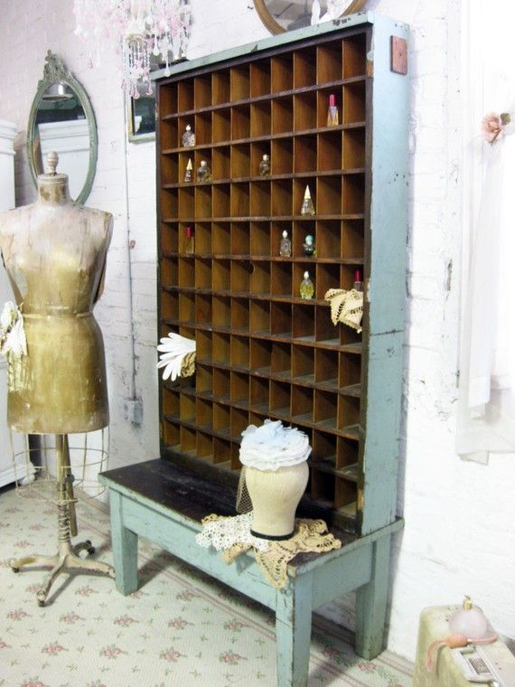 vintage mail sorter, another dream piece...I can see if filled with small jars of buttons and vintage lace!
