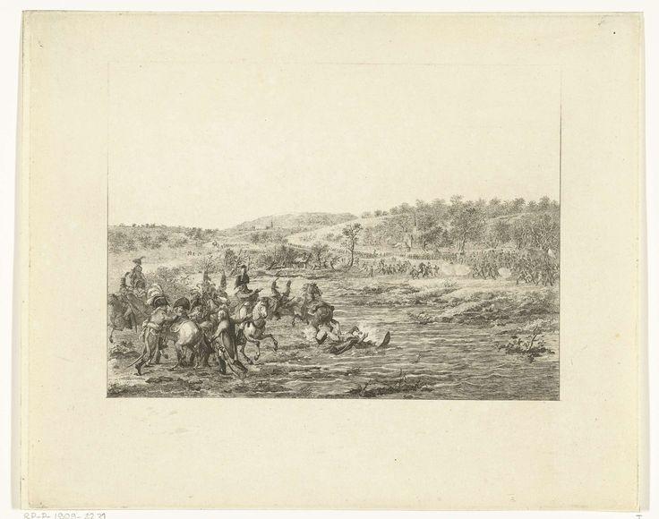 Joannes Bemme | Vlucht van de Franse generaal Charles-Francois Dumouriez, Joannes Bemme, Dirk Langendijk, 1793 - 1795 | Een groep Franse soldaten te paard vlucht door een rivier. Aan de overkant staan infanterie soldaten. Op de voorgrond links stijgt de aanvoerder van de Franse troepen, generaal Dumouriez, op zijn paard.