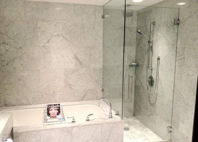 Marble Bathroom With Frameless Shower Screen Photo