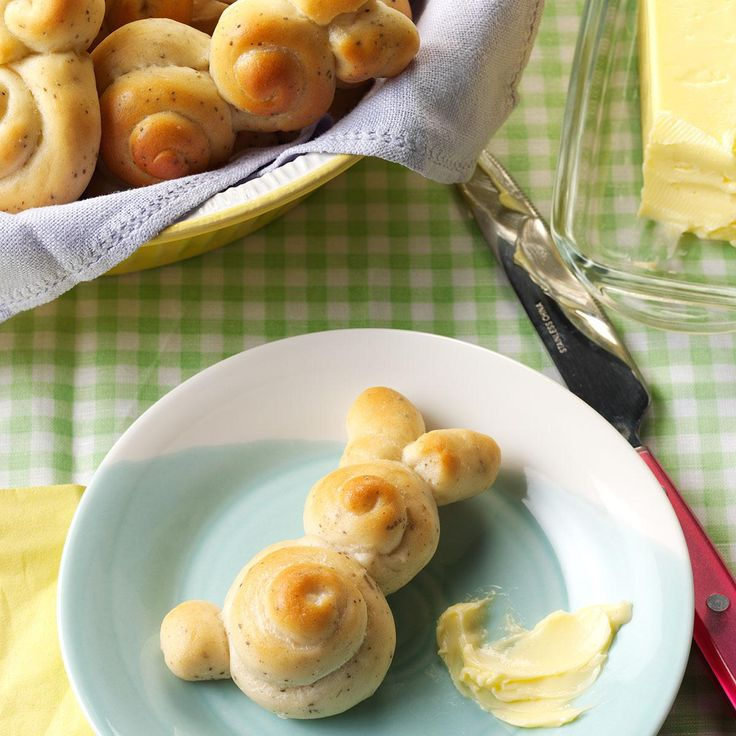 """Easter Bunny Rolls Recipe -If you're planning an Easter feast, why not hop to it and roll out a bevy of bunnies? They'll multiply quicker than you think…and your hearty eaters will """"cotton"""" to them! —Bonnie Myers, Callaway, Nebraska"""