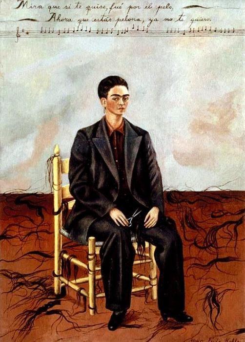 'Autorretrato con pelo corto', huile de Frida Kahlo (1907-1954, Mexico)