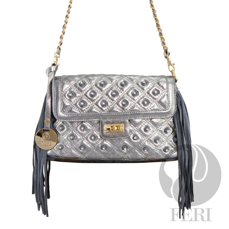 "FERI Day2Day - Shyla - Purse - Silver - Silver quilted metallic shine fabric bag - PU Leather fringe - Gold toned chain shoulder strap braided with matching fabric - Embellished with white stones - Twisting clasp closure with zipper - Gold toned customized FERI hardware - Custom FERI lining with zippered pouch and cellphone pockets - Dimension: 12.0"" x 6.5"" x 3.9"" (Width x Height x Depth) .   www.gwtcorp.com/ghem or email fashionforghem.com for big discount"