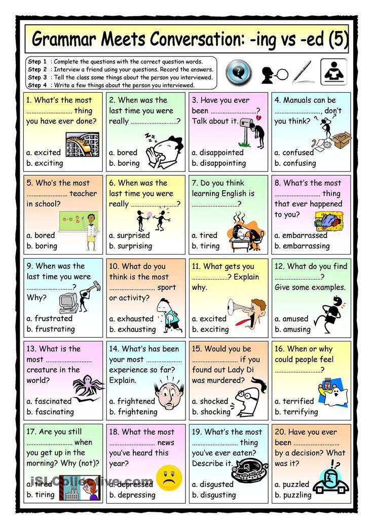 Grammar Meets Conversation Ing Vs Ed Adjectives