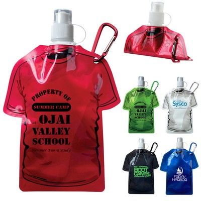 Custom T-Shirt Shaped Collapsible 16 oz. Water Bottle Item #PL-3726 (Min Qty: 38). Decorate your Promotional Water Bottles with your business logo and with no setup fees.
