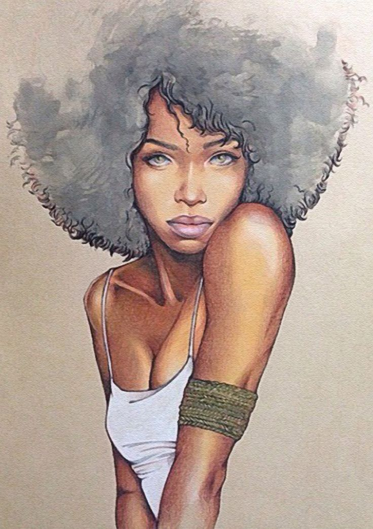Adrian-Phoenix, colored pencil on toned paper {contemporary art beautiful female décolletage #afro african-american black woman portrait drawing #loveart}