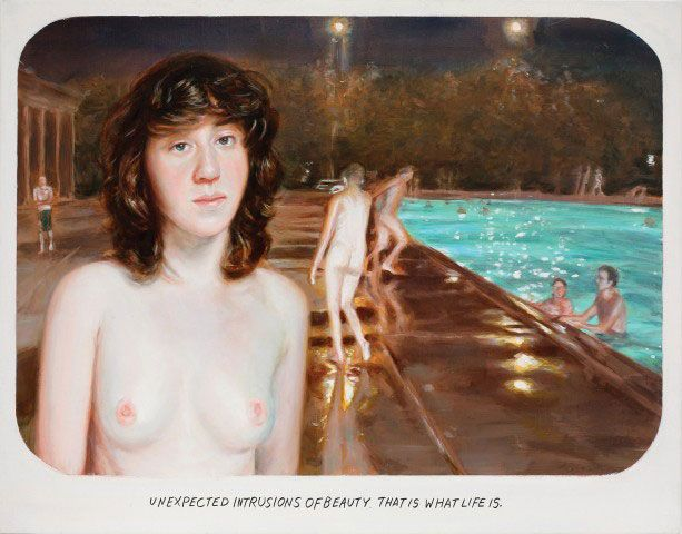 Muntean/Rosenblum: Untitled (Unexpected intrusions of beauty...), 2012  oil on canvas, 62.5 x 80.5 cm, 24 5/8 x 31 3/4 inches