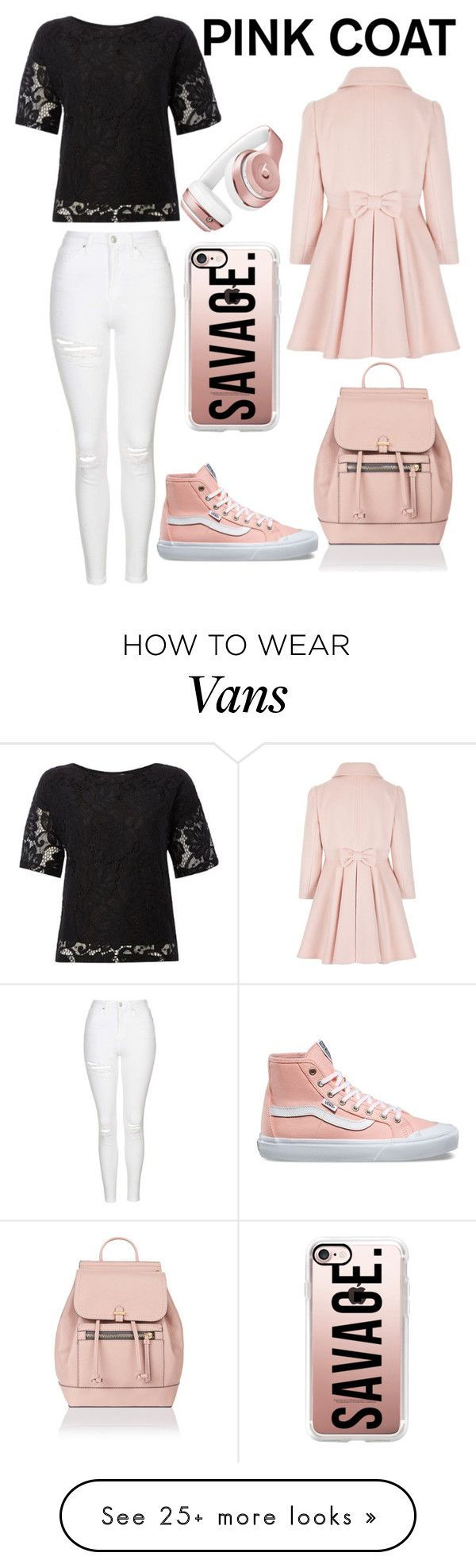 """Savage in pink"" by skinnyjeansamd on Polyvore featuring Topshop, Minimum, Vans, Accessorize, Beats by Dr. Dre and Casetify"