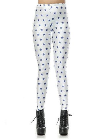 White Polyester Star Print Fall Leggings – teeteecee - fashion in style