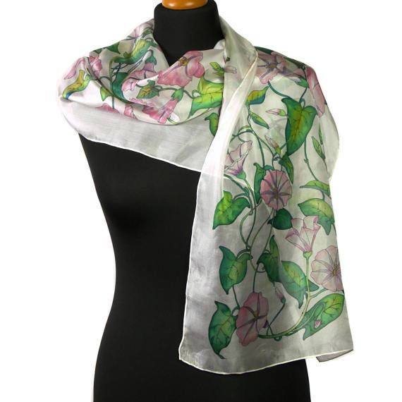 White silk scarf hand painted floral scarves OOAK gift for her