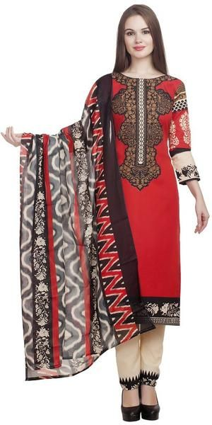 LadyIndia.com # Dress Material, Designer Cotton Red And Beige Salwar Suits With Duptta Dress Material Formal Office Wear Women Suit, Unstitched Suit, Salwar Suit Duptta Set, Dress Material, Anarkali Dress, Straight Suit, https://ladyindia.com/collections/ethnic-wear/products/designer-cotton-red-and-beige-salwar-suits-dress-material