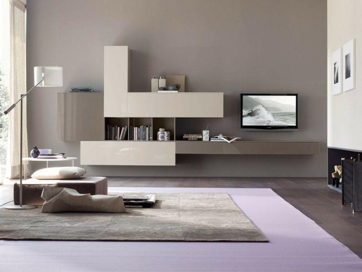 salon moderne gris idée aménagement tapis de sol mobilier design