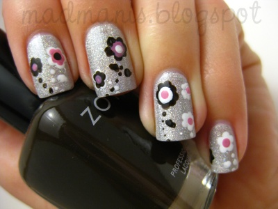 """For today, I decided to do an abstract flower design. I started with a base of OPI DS Coronation. The colors I used for the flowers are Zoya Codie, Sinful White on White and OPI Sparrow Me The Drama."""
