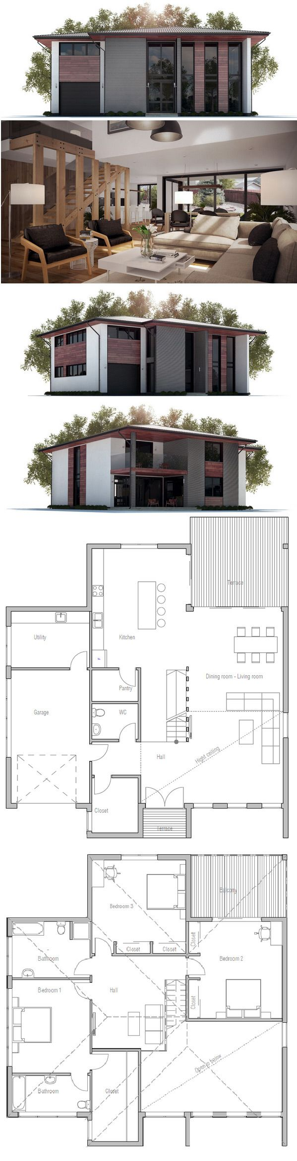Modern House Plan Floor Plan with open