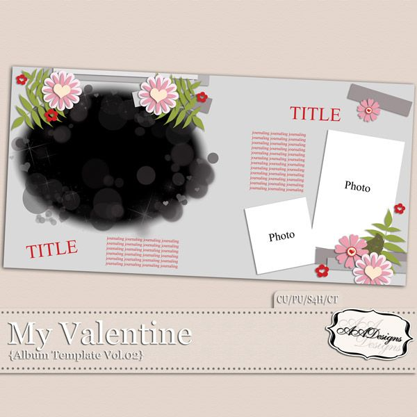 My Valentine - Album Template Vol.2 by AADesigns