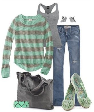 Love the green color of the sweater and shoes.  LOVE the shoes.  I like the stripes of the sweater and how soft and comfy it looks
