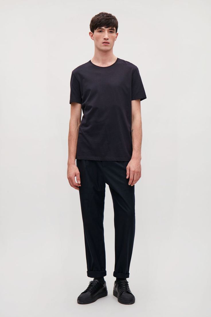 COS image 22 of Round-neck t-shirt in Indigo