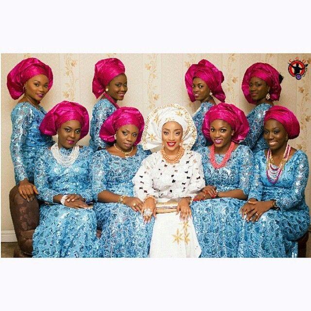 Nigerian wedding blue and magenta ore-iyawo aso-ebi color combination