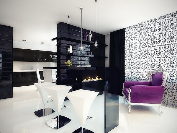 black-white-interior-fireplace