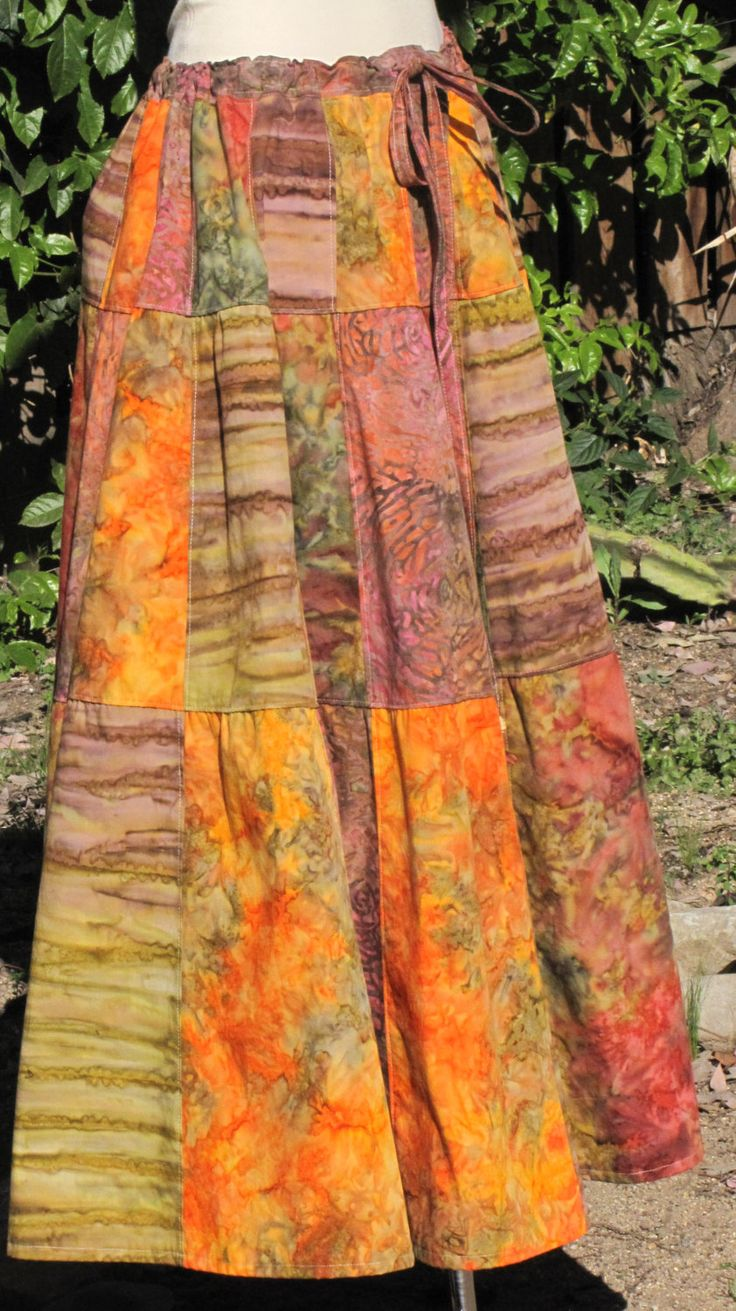 Handmade Hippie Inspired Patchwork Skirt OOAK Sundress Hippie Clothes Festival Clothes Hippie Skirt Patchwork Batik Skirt Festival Skirt. $89.00, via Etsy.