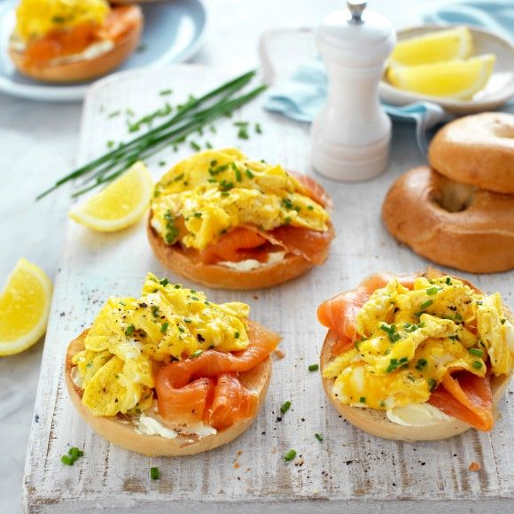 Collect this Breakfast Egg and Salmon Bagels recipe by Australian Eggs. MYFOODBOOK.COM.AU | MAKE FREE COOKBOOKS