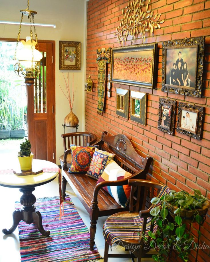 pinterest home decor living room%0A A brick wall and colonial furniture greet visitors at the entry way  The  colourfuls are ominipresent here  yet mellow  The money plant adds a touch  of