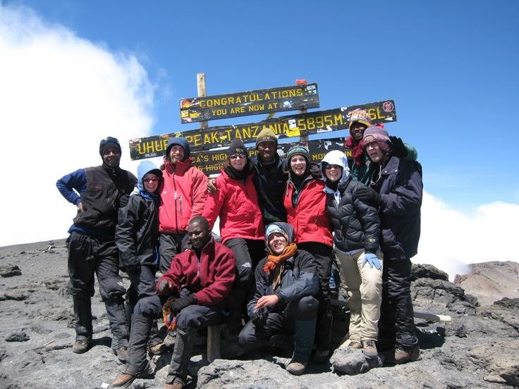 Success! On the summit of Mt. Kilimanjaro, Tanzania