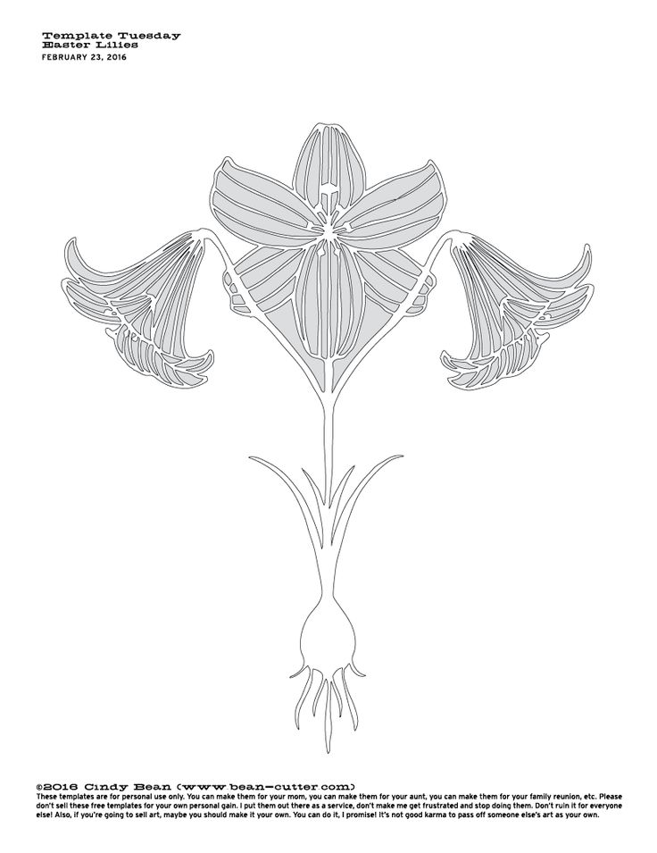 Papercutting Template by Cindy Bean - Easter Lilies