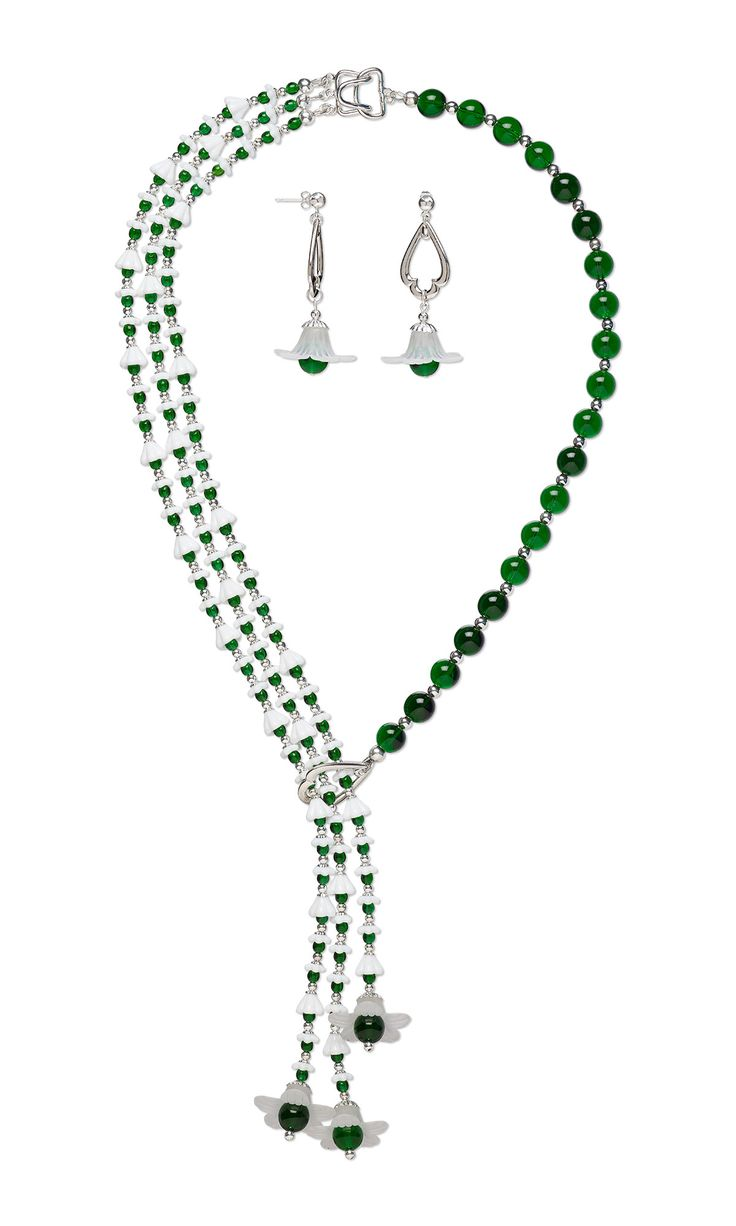 Jewelry Design - Lariat-Style Necklace and Earring Set with Czech Glass Beads, Acrylic Components and TierraCast® Rhodium-Plated Pewter Drops - Fire Mountain Gems and Beads