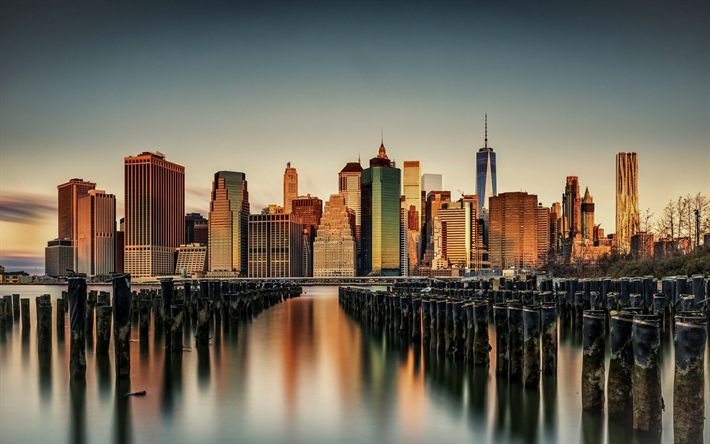 Download wallpapers New York, Manhattan, Civic Center, USA, evening, sunset, skyscrapers, American cities, metropolis