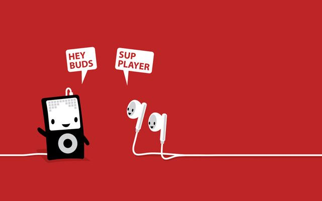 """Hey buds!"" iPod and earbuds humor"