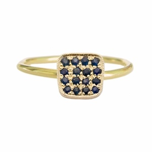14k gold rounded square paved with Sapphire on a gold band. $680 #ring #accessories