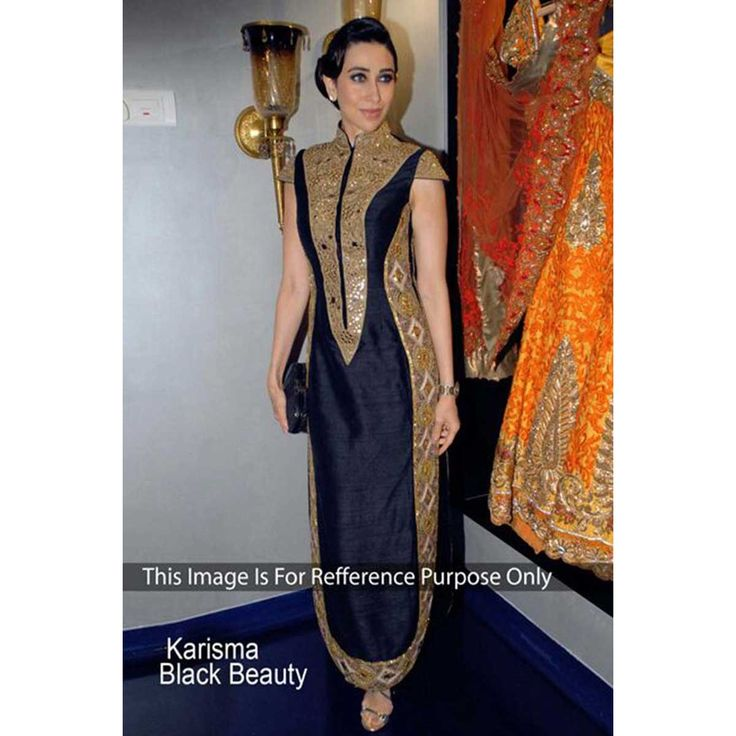 By Karishma Kapoor Anarkali churidar georgette asian suits, Black embroidered clothing