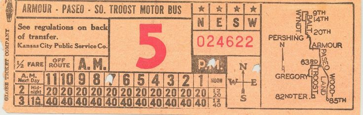 Front of bus transfer from Kansas City (Missouri) Public Service Co. (date unknown; probably 1940s)