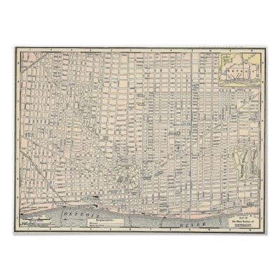 Vintage Map of Detroit (1895) Posters from Zazzle.com