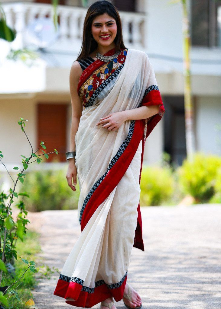 Saree - Off White Kota With Hand Painted Kalamkari Pallu