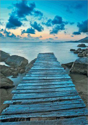 3D-Bild: Steg (Classic)   Landschaft, See, Meer, Wasser, Steg, Steine Landschaft