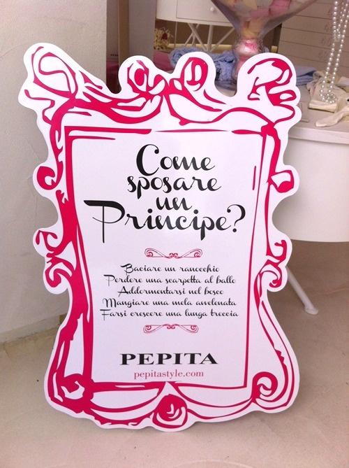 Cartello vetrina spettacolo!!! #pepita #comesposarunprincipe