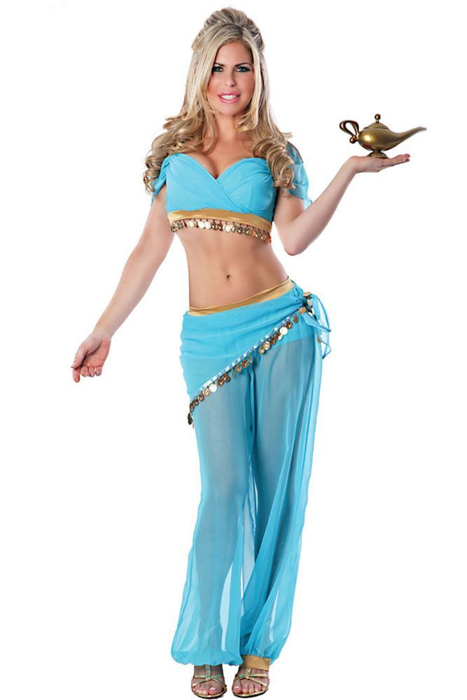 2016 Adult Womens Genie Jasmine Aladdin Princess Costume Fancy Dress Halloween Sexy Arabian Belly Dancer Costumes Arabic 8952