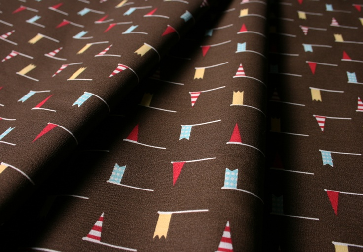 Fabric Finders #1352 Red Blue Flags on Chocolate