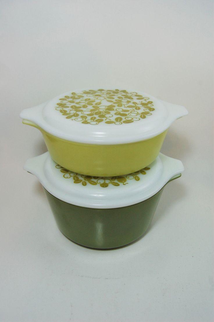 Pyrex Verde Casseroles, Verde Green Olives, Opal Lid Pyrex, Pyrex Casseroles, Green Pyrex, Vintage Pyrex, Kitchennware, Casseroles by RearViewRetro on Etsy
