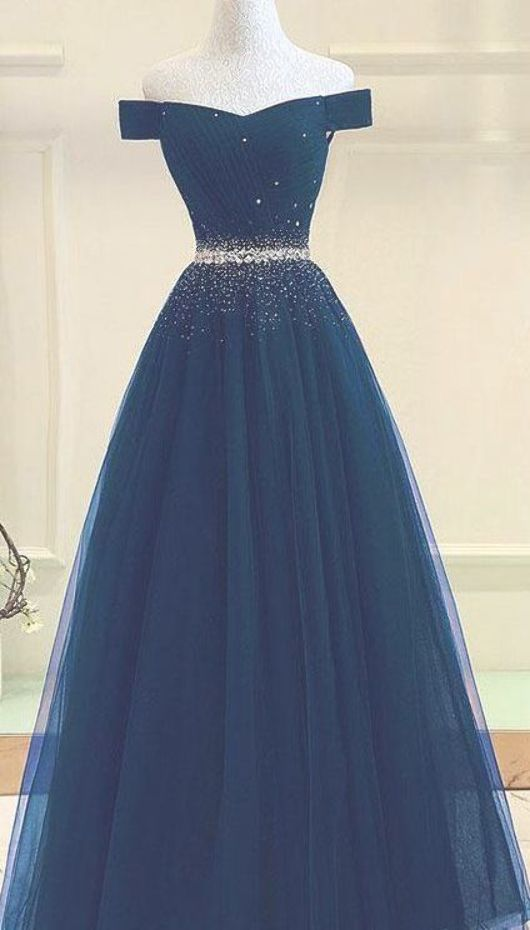 Tulle prom gown,off shoulder prom