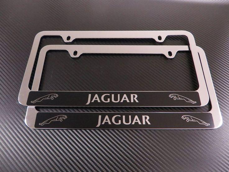 2 Brand New JAGUAR Halo chromed METAL license plate frame +screw caps #STAINLESSSTEELLICENSEFRAM