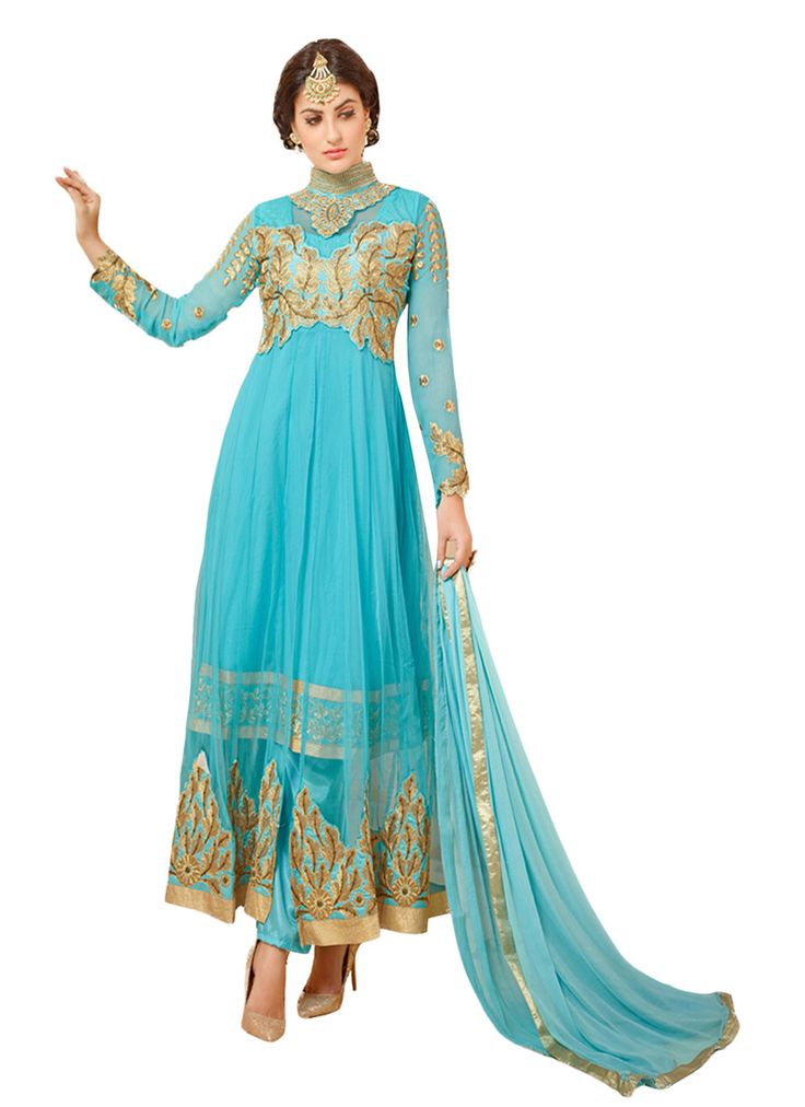 Sky Blue Layered Anarkali Suit